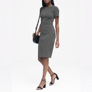 BANANA REPUBLIC Black Grey Stripe Sheath Dress 4